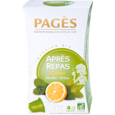 Infusion Bio Après-Repas Citron Menthe Mélisse Pagès 10 capsules
