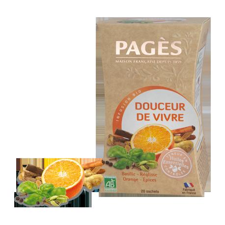 Infusion Bio Douceur de Vivre Ayurveda Basilic-Réglisse-Orange-Epices aux Huiles Essentielles 20 sachets
