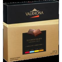 Coffret dégustation 4 Grands Crus de chocolat noir et lait, 52 carrés Valrhona