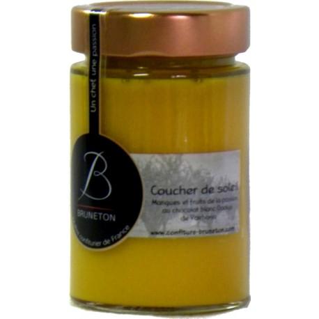 Confiture Coucher de Soleil - Mangue Passion Chocolat Blanc Bruneton