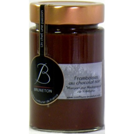 Confiture de Framboises au chocolat noir Manjari pur Madagascar de Valrhona Bruneton