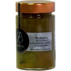 Confiture de Mirabelles de Lorraine et rhubarbe verte à la menthe Bruneton