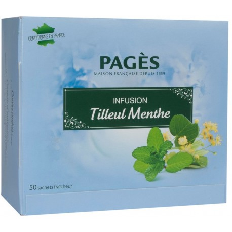 Infusion Tilleul Menthe 50 sachets Pagès