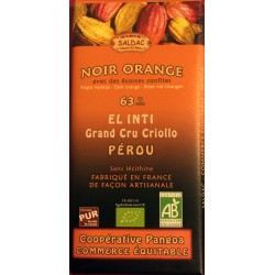 Chocolat Grand Cru Noir Orange 63% El Inti Saldac