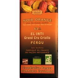 Chocolat Grand Cru Noir Orange 63% El Inti Saldac