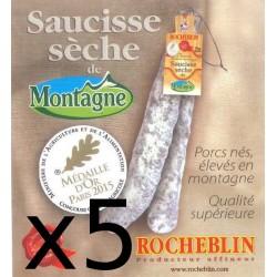 Lot de 5 saucisses sèches de montagne Rocheblin