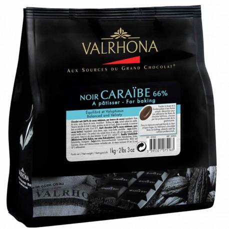 Chocolat noir Grand Cru Caraïbe 66% fèves Valrhona