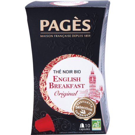 Thé noir English Breakfast bio Pagès 10 capsules