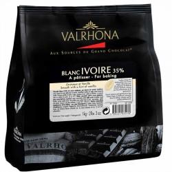 Chocolat blanc Ivoire 35% à cuisiner en fèves Valrhona